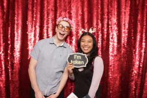 photo booth Vancouver red backdrop